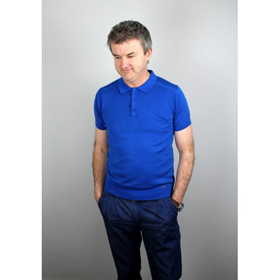 Markup Knitted Blue Short Sleeve Polo