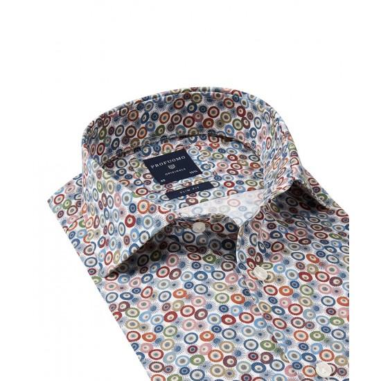 Profuomo Brown Circle Print Shirt
