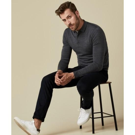 Profuomo Anthra Long Sleeve Merino Wool Polo