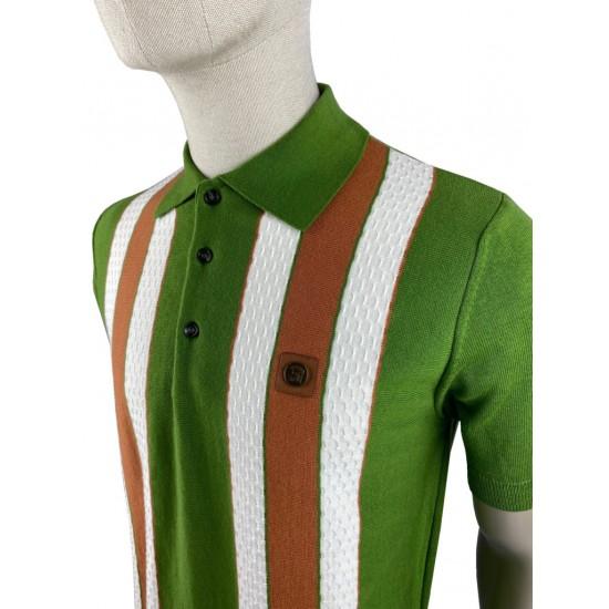 Trojan Fine Gauge Textured Green Stripe Polo