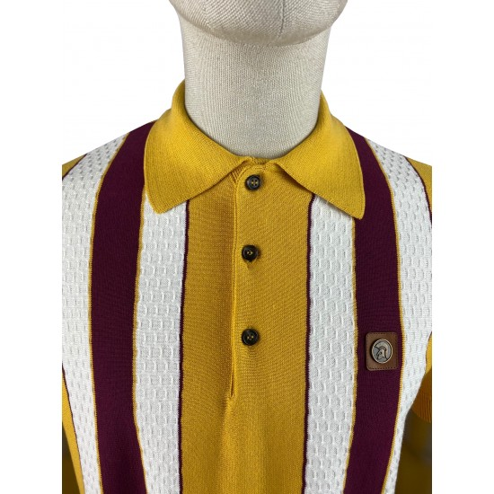 Trojan Mustard Fine Gauge Textured Stripe Polo