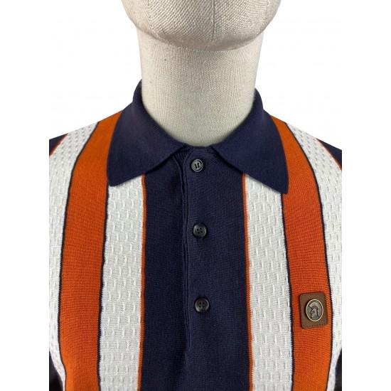 Trojan Navy Fine Gauge Textured Stripe Polo