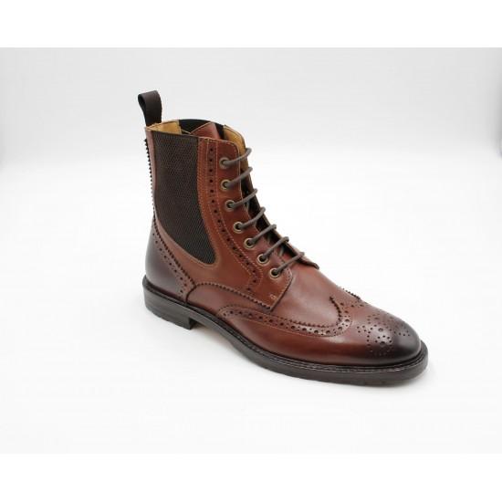 iMaschi Calf Skin Leather Brown Brogue Boots