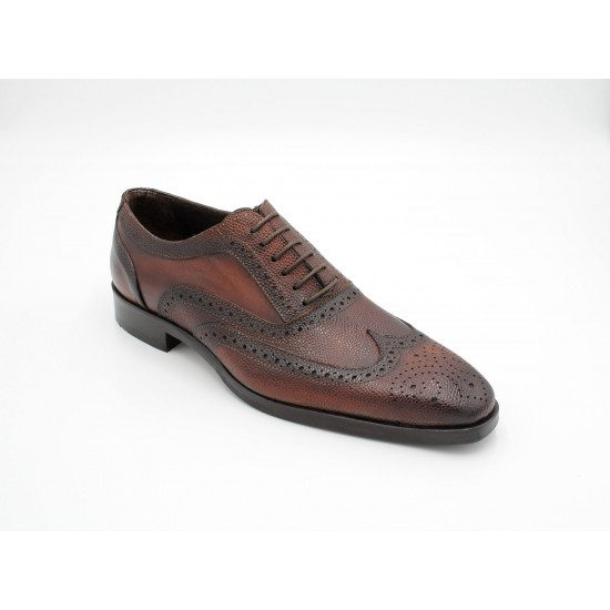 iMaschi Brown Grain Oxford Brogue Shoes